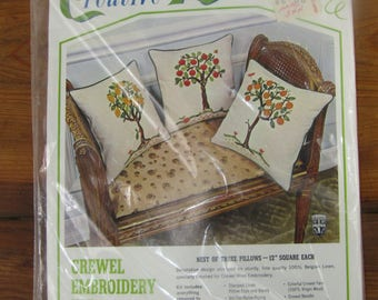 Vintage Bucilla crewel embroidery pillow kits with 3 PILLOWS