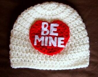 Be Mine Valentine's Hat / 0-3 months / Newborn / Conversation Heart Beanie / Valentine's Day Photo Prop / Handmade / Crochet