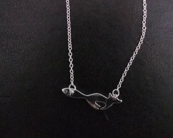 """Locket and silver necklace """"Fox"""""""