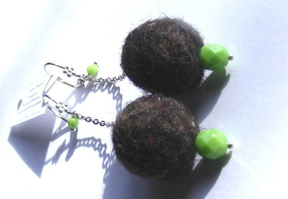 Earrings # dangling chain # # unique wool balls # grey color and lime # dollydoo # gift for her