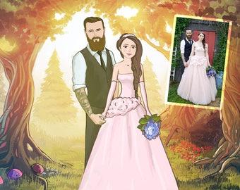 Custom Wedding Portrait Illustration, Custom Wedding Portrait from your photos, Portrait illustration,  Anniversary Portrait, Wedding gift
