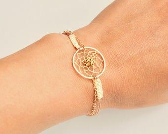 Macrame white and gold dream catcher bracelet