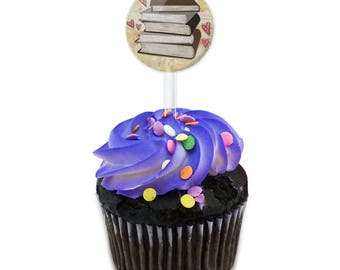 Stack Of Books Cake Cupcake Toppers Picks Set