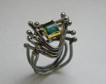 handcrafted contemporary silver gold K18 ring with green tourmaline