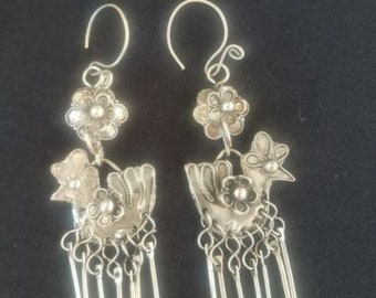 Folk Wind Miao Silver Earrings