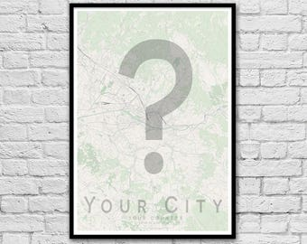 MAP YOUR CITY! City Street Map Print | Valentine's Day Gift | Wall Art Poster | Wall decor | Anniversary Gift | A3 A2 | Gift for Him
