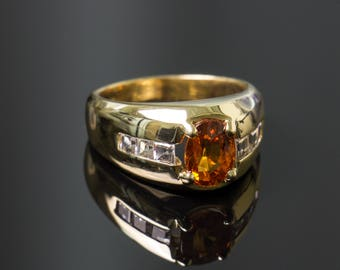14k Yellow Gold Orange Sapphire Ring