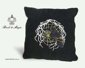 Pillow with witchy Crow. Raven totem. Witch. Shaman. Spiderweb. Halloween. Black