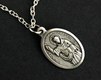 Saint Vincent Ferrer Necklace. Catholic Necklace. St Vincent Ferrer Medal Necklace. Patron Saint Necklace. Catholic Jewelry.