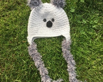 Gray koala crochet hat!