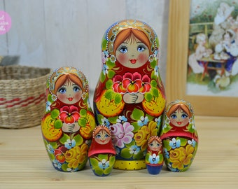 Hand made matryoshka doll, Gift for daughter, Russian nesting doll, Hand painted babushka, Gift for her, Wooden art dolls, Painting on wood