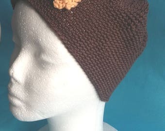 Hat adult woman flower brown yellow