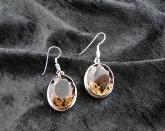 Sterling Silver Faceted Smoky Quartz Earrings