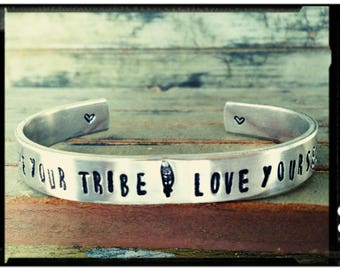 Love Your Tribe • Love Yourself - Cuff Bracelet//Arrow, Feather,Heart//Wide Aluminum Cuff//1100 Series Quality//14 Guage - Friend/Family