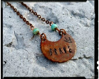Brave - Stamped Copper Necklace - Hand Patina/Oxidized Copper - Turquoise Beads//Copper Chain - Bohemian Staking Necklace - Swallow Stamp