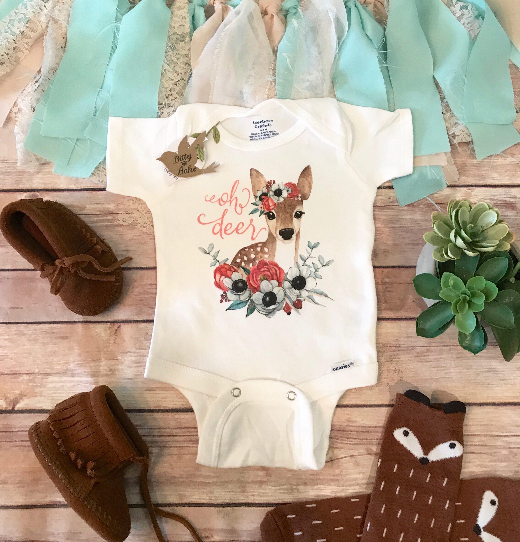 Oh Deer Onesie 174 Country Baby Girl Clothes Cute Baby Onesies