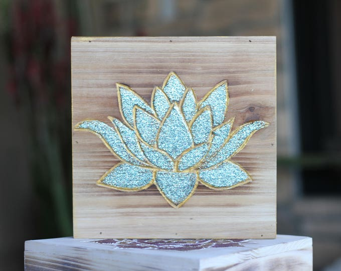Hand carved Glitter Lotus Flower Wood Wall Hanging