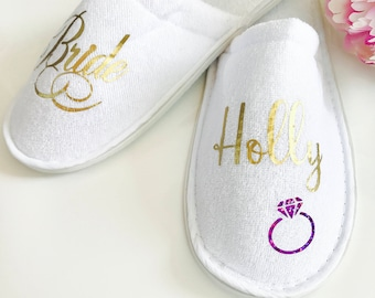 Bride Slippers, Bridal Slippers, Wedding Party Slippers, Bridesmaid Gift, Personalised Slippers, Hen Weekend, Hen Party, Bridesmaid Slippers