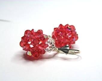 Swarovski crystal earrings pink padparadscha iridescent fleur de lis silver Stud Earrings