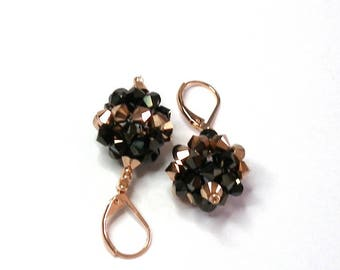 Chocolate bronze Swarovski crystal earrings 2 x rose gold 2 sleepers brass rose gold