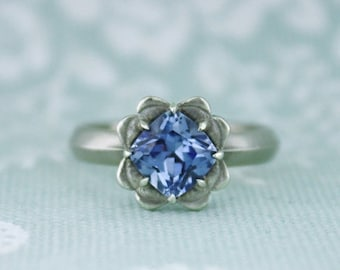 40% off Leaf Halo Solitaire Ring - Lab grown Sapphire in 14k white gold with a satin polish