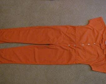 Halloween real  Inmate Orange Prison Jumpsuit men's X-Large