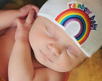 Hospital Rainbow Patch Newborn hat Newborn baby beanie with rainbow patch Baby Hospital Hat Newborn  Hat- Available in White, Blue and Pink
