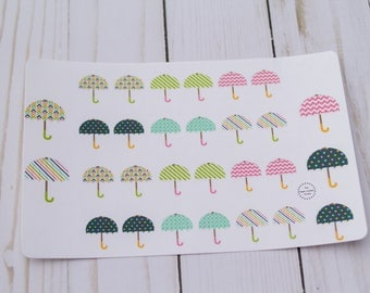 Rainy Day Umbrella Planner Agenda Stickers