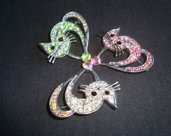 Vintage brooch, anni ' 80 cat-shaped Gift for cat lovers