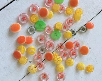 53 vintage buttons sherbet colors!