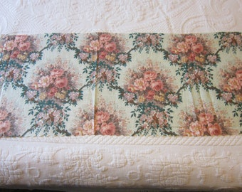 Vintage Glazed Chintz Floral Fabric Piece