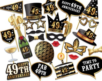 49th Anniversary Photo Booth props - Instant Download printable PDF. Anniversary party Photo Booth supplies. 49th Today - 0228