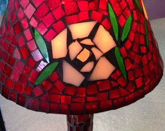 Ruby Red  glass mosaic with flower design boho chic lamps eclectic lamps retro lamps table lamps boudoir lamps bedroom lamps red mood lamp