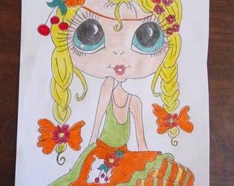 design little girl with big eyes