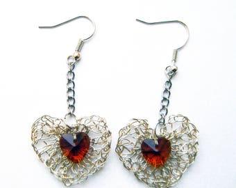 Crocheted heart metal and glass bead earrings