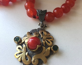 Red Jade Necklace with Sterling Silver Turkish Pendant-Free Domestic and International Shipping