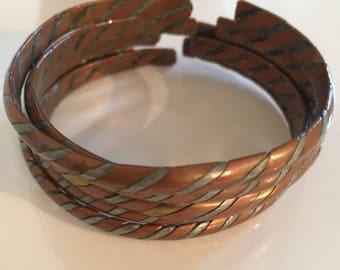 80s Bronze Cuff Bracelets- Set of Five- Vintage Ethnic Bronze Bracelets