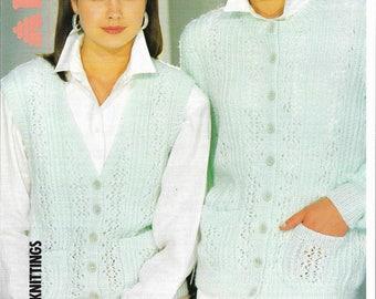 pdf Ladies Cardigan and Waistcoat Knitting Pattern.