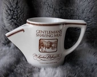 Gentleman's Shaving Mug, White & Brown Porcelain, Made in England, Regent Street London, Handcrafted, The London Perfume Co, Vintage Mug.
