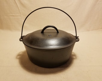 Vintage Lodge #8 Cast Iron Dutch Oven with Lid