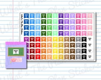 96 Paper Due Flags Planner Stickers