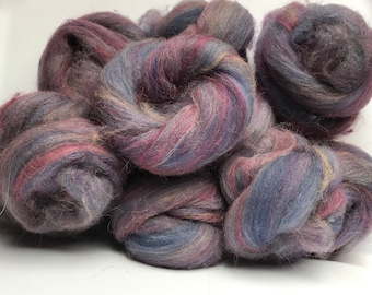 Hand-carded Batts  Corriedale wool and Llama Art Batts Indie Dyed