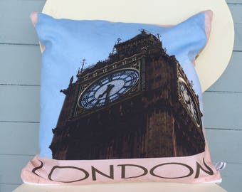 London Big Ben Pillow, London Cushion, England Gift, Gift for Mom, Gift for Dad