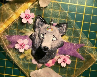 Wolf head and Czech Crystal Necklace