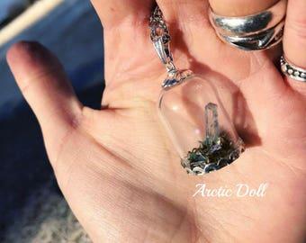 Terrarium with magical quartz Crystal Necklace