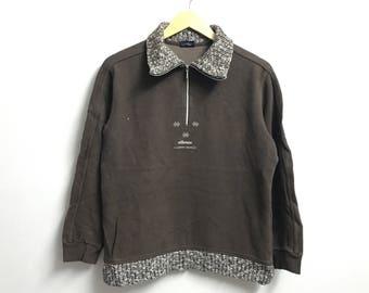 Rare!!Vintage 90's ELLESSE Sweatshirt  half zipper Pull Over Jumper Small Embroidery Logo brown colour large size jaspo (B3)