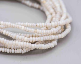 """Vintage Opal White Glass African Trade Beads 3-4mm 180 beads on a 23"""" Strand"""