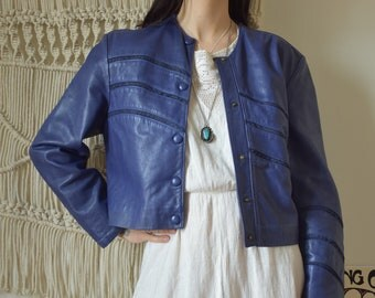 Purple leather and suede vintage jacket