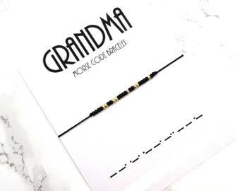 GRANDMA Morse Code Bracelet, grandmother jewelry gift, baby shower gift, custom personalized grandmother bracelet, granny jewelry gift