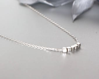 Silver Necklace, Silver Cubes Charm Necklace, Silver necklace, Silver Chain Necklace, 925 Silver Necklace, Bridesmaids Gift, (NS15)